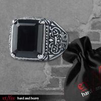 Echt etNox Black Ornament Ring Edelstahl mit Onyx Gothic Schmuck - NEU