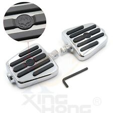 Flame Skull Foot Pegs footrest& Foot Peg Support For 84-16 Harley Touring Dyna