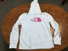 WOMENS USED THE NORTH FACE WHITE PINK HALF DOME LOGO PULLOVER HOODIE LARGE