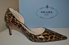 NIB $650+ PRADA Leopard Patent Pointy Toe d'Orsay Classic Pump Shoe 37.5 - 7.5