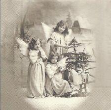 2 Serviettes en papier Anges Noël Paper Napkins Christmas Angels Sagen Vintage