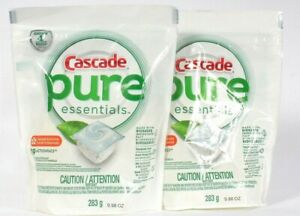 2 Bags Cascade Pure Essentials Orange Blossom 19 ActionPacs Dishwasher Detergent