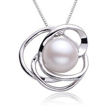 Ivory Freshwater Pearl Flower 925 Silver Necklace Contemporary Pearl Necklace