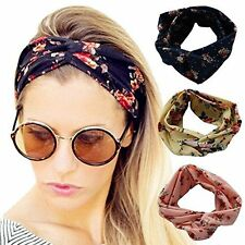 4 Pack Women Elastic Flower Printed Turban Head Wrap Headband Twisted Hair Band