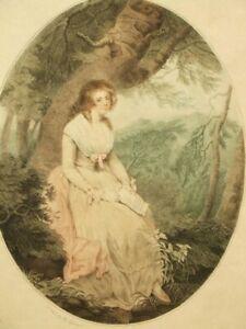 Rousseau's Eloisa after Wheatley, antique stipple colour engraving 1791