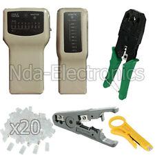 RJ45 RJ11 CAT5 LAN Network Tool Kit Cable Tester Crimp Stripper Punch 20 RJ45