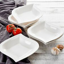 "Malacasa ELVIRA 6-Piece 8.5"" Square Porcelain Soup Deep Plates for Home Kitchen"