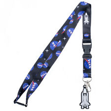 NASA Logos and Shuttle Lanyard with ID Holder & Charm New