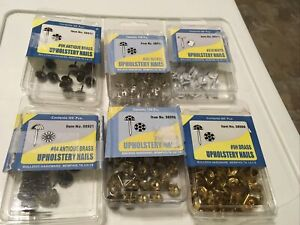 Misc Lot Upholstery Nails Brass Antique Brass Nickel White Furniture Bulldog