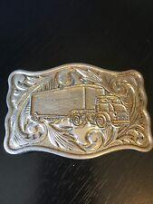 Fancy Design Belt Buckle Featuring a Semi Truck Eighteen Wheeler Trucker