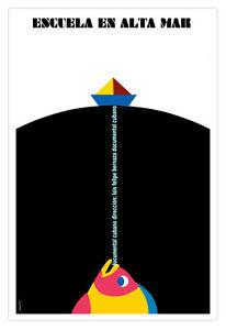 """Cuban movie Poster 4 film""""Escuela en ALTA mar.Sea Fishing School""""Colorful Fish"""