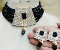 Indian CZ Black Pearl Choker Necklace Earrings Bollywood Women Fashion Jewelry