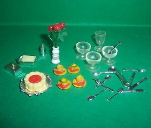 VINTAGE LUNDBY DOLLS HOUSE CUPS, CAKE, FLOWERS, BUTTER DISH, SUNDAE GLASSES ++