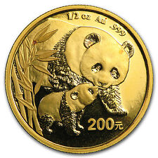 Random Year 1/2 oz Gold Chinese Panda Coin Not Sealed Brilliant Uncirculated