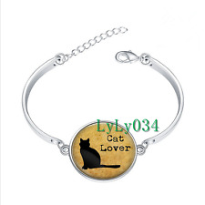 Cat Lover glass cabochon Tibet silver bangle bracelets wholesale