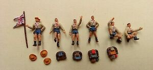 6 Preiser Painted Figures HO 1/87 Scale,Scout Group