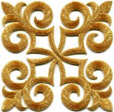 Gold trim fleur de lis fringe boho embroidered applique iron-on patch S-1095