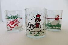 Set of  3 Glass Christmas Tea-Lite Holder