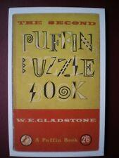 POSTCARD ADVERT PUFFIN BOOK COVER - THE 2ND PUFFIN PUZZLE BOOK - W E GLADSTONE
