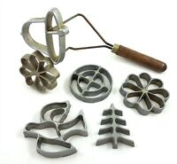 Vintage Pizzelle Waffle Press Cookie Molds Stamps 6 Designs Bird Flower Bell