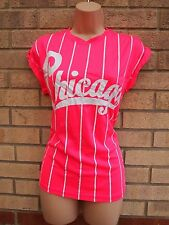 MISS 21 NEON PINK WHITE CHICAGO STRIPE STRIPED TOP TUNIC T SHIRT VEST CAMI M 12