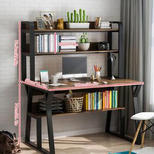 Modern Home Learning Desk Workstation Black Computer Desk With Storage Shelves