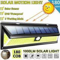 180 LED Solar Power Motion Sensor Wall Light Outdoor Garden Path Lamp Waterproof