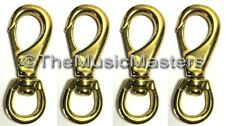 "4X Brass 3 1/4"" Swivel Eye Snap Spring Hook Boat Marine Rope Dock Line Connector"