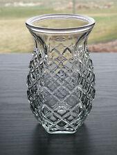 "5 Vintage Diamond Pattern 51/2"" Bulb Forcing Floral Vase Hexagon Shape Round Top"