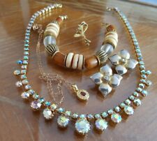 Lot bijoux vintage plaque or strass Broche Boucles d'oreilles Collier RefV516