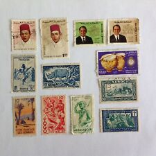 Lot of 12 Morocco stamps~French colonies~1933-1973~King Hassan II~dancers~rhino