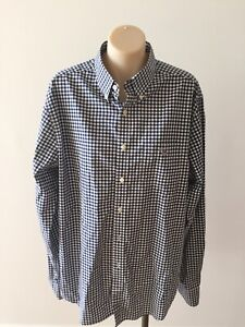 MINT $169  L  41/42- 16.5 GANT POPLIN GINGHAM NAVY WHITE  L/S cotton shirt