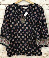 LOFT womens large peasant blouse shirt new notch neck floral boho tassel top D8