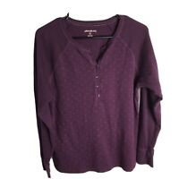 Eddie Bauer Womens Henley Long Sleeve Button Shirt Size XL Purple Berry