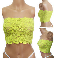 Sexy Womens Strapless Lingerie Underwear NEON Yellow Crochet Lace Tube Top SMALL