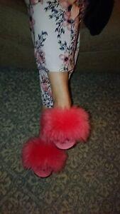 Vintage retro fluffy mule slippers Hausschuhe Jahrgang,Pantoufles moelleus uk 6s