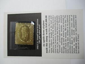 23k GOLD REPLICA PROOF 1918 U.S. INVERTED JENNY STAMP W/COA COLLECTORS ADVISORY