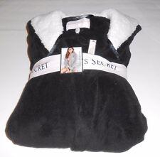 Victoria's Secret The Cozy Short Plush Fleece Hooded Robe Black Large (L) NWT