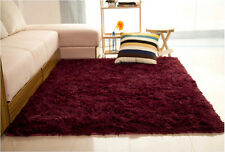 80x120CM Claret-Red Fluffy Anti-Skid Shaggy Dining Room Carpet Floor Mat Decor