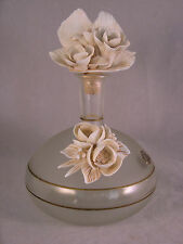 Vintage Via Veneto Bottle w Porcelain applied Flowers Decorative Perfume - USED
