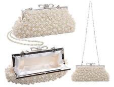 Vintage Pearl Bow Evening Clutch Bag Handbags Wedding Ivory White