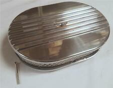 """12"""" Oval Half Finned Polished Aluminum Air Cleaner Classic Nostalgia Street Rod"""