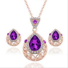 1 Color Necklace Earrings Set Water Drop Zircon Crystal Rhinestone Jewelry Sets