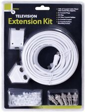 15M Coaxial Television TV Extension Kit Cable Lead Wire Plugs Aerial Splitter