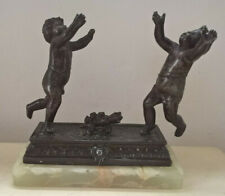 More details for antique spelter cherubs on marble ornament a/f