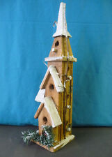 Wooden Church Tower Christmas House Weihnachtsdeko Illuminated