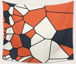 "NEW 60"" x 52"" Orange Navy Blue White Mosaic Geometric Tapestry Wall Decor w/Clip"