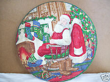 """Santa Clear Glass Plate Decopaged Fabric back 10"""" Display Type Plate"""