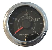 "Pyrometer 0-1500F EGT gauge, 2""/52mm, 12 ft (3.6m) K thermocouple probe, chrome"