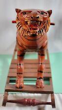 Antique Rocking Horse Carved Wood Tiger